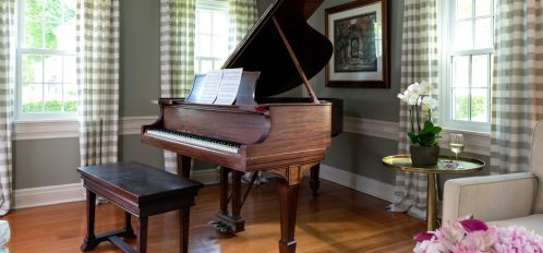 the piano in the common area of The Inn at Yarmouth Port