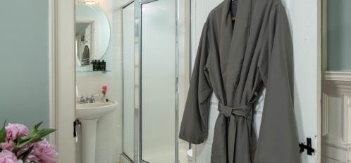 the en-suite and bathrobe of The Blue Point Room at The Inn at Yarmouth Port