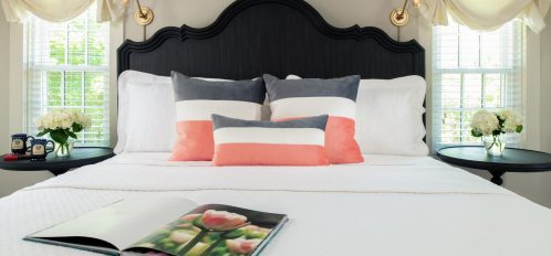 A closeup of The Island Creek room's bed at The Inn at Yarmouth Port