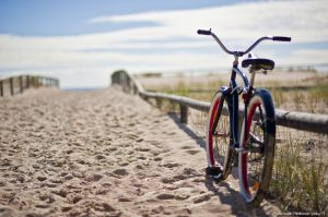 bike at beach on cape cod rail trail
