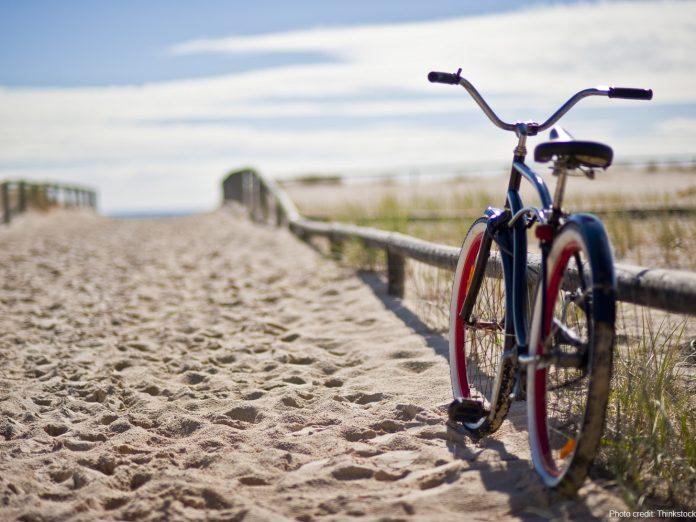 bike at beach on cape cod rail trail