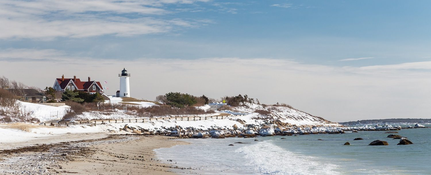 Nobska Lighthouse in Cape Cod on a snowy Winter day