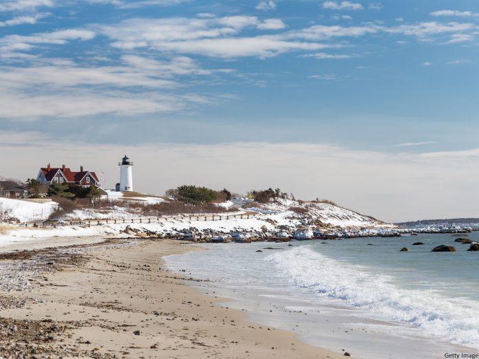 Nobska Lighthouse in Cape Cod on a snowy Winter day