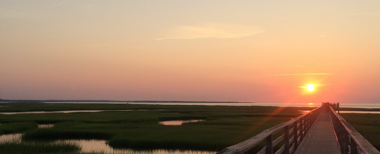 sunset on boardwalk