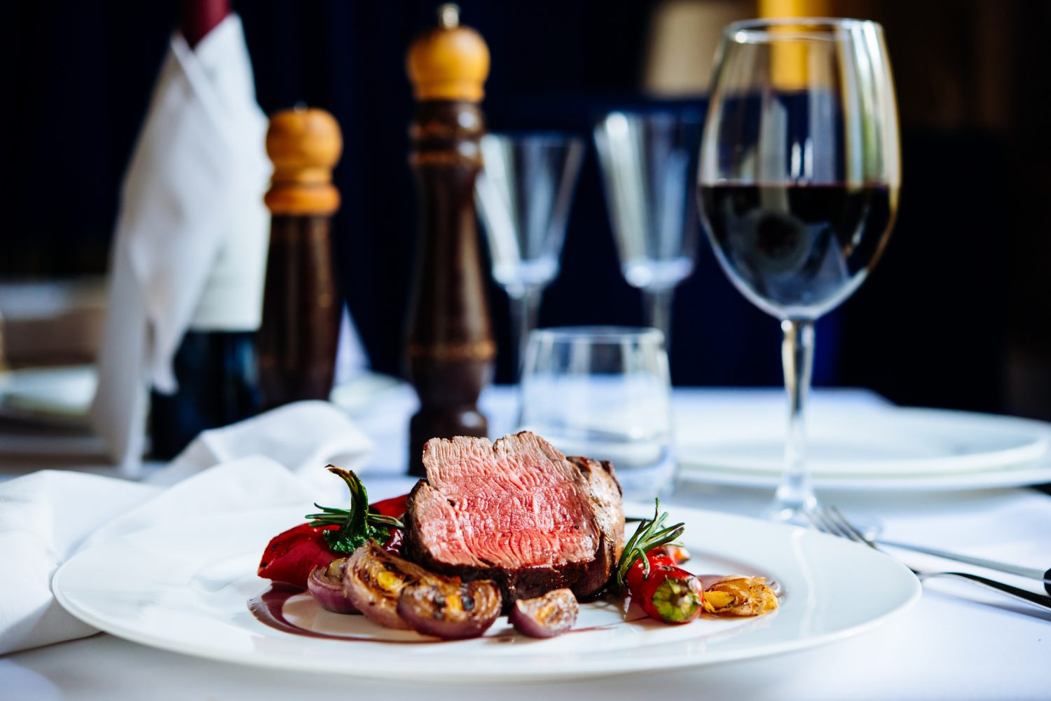 beef steak served at fine dining restaurant