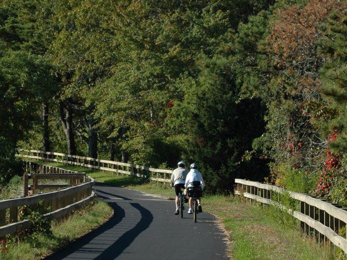 Cyclists on Cape Cod Rail Trail
